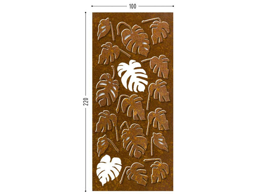 Monstera screen lasercut CorTen wall decor