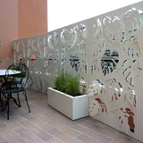 Monstera screen lasercut aluminum planter terrace divider