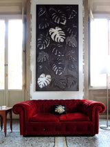 Corten lasercut wall sculpture philodendrum leaves decor