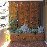 Monstera screen lasercut CorTen planter terrace divider