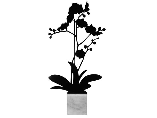 Black Orchid shaped aluminum silhouette on Carrara marble base