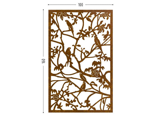 Parrots corten screen lasercut terrace and room divider
