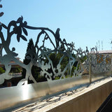 Parrots screen railing parapet lasercut raw aluminium terrace