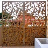 Schefflera screen lasercut corten terrace parapet