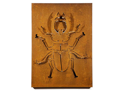 Raw laser cut corten steel wall sculpture for indoors or outdoors decor