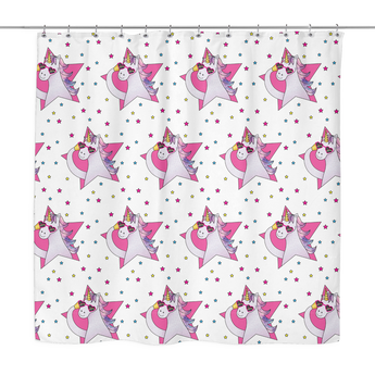 Pink Unicorn Shower Curtain