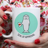 Free Shipping Worldwide - Seal of Approval - Cute Seal Mug [Gift Idea - Makes A Fun Present / Teacher Gift [Blue & Green]