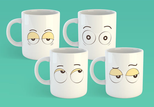 Free Shipping Worldwide - Set of 4 Coffee Mug Eyes - Eye Roll, Tired Eyes, Surprised Eyes, Side-Eye [Gift Idea - Makes A Fun Present]