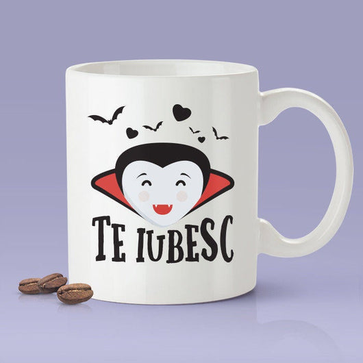 Romanian Lovers Mug - [Gift Idea For Him or Her - Makes A Fun Present] I Love You Vampire Mug - Romania  Te Iubesc