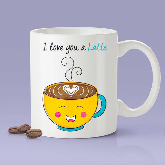 I Love You A Latte Lovers Mug - Yellow Happy Coffee - [Gift Idea For Him or Her - Makes A Fun Present] I Love You Coffee Mug