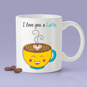 Free Worldwide Shipping - I Love You A Latte Lovers Mug - Yellow Happy Coffee - [Gift Idea For Him or Her - Makes A Fun Present] I Love You