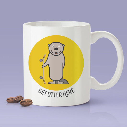 Free Worldwide Shipping - Get Otter Here [Cute Otter  Coffee Mug] - Gift Idea / Yellow