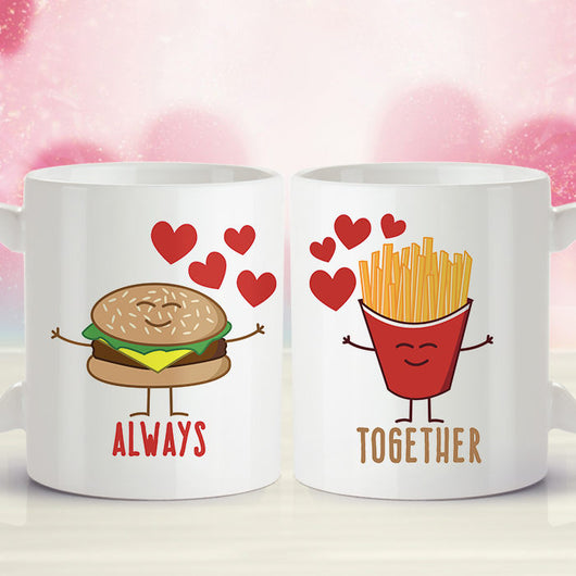 Free Worldwide Shipping - Burger & Fries - Always Together Love Mug [Gift Idea - Makes A Fun Present] [For Him / For Her] Cute Couple Mug