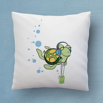 Cute Turtle Pillow - The Perfect Bedroom Pillow For Turtle Lovers - Cute Decorative Pillow 18x18 inches
