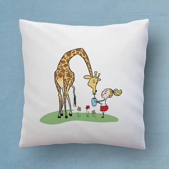 Cute Giraffe Pillow - The Perfect Bedroom Pillow For Giraffe Lovers - Cute Decorative Pillow 18x18 inches