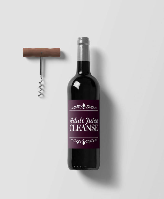 Free Shipping Worldwide - Adult Juice Cleanse Wine Bottle Label - Makes A Fun Gift - Fits Most Wine Bottles [Set of 6]