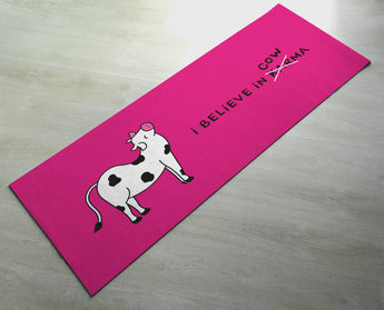 I Believe In Cow-Ma - Cute Cow Karma Yoga Mat - Practice Yoga In Style [Gift Idea / Fun Present] Exercise Mat / Bitilasana