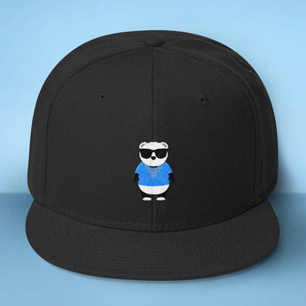 Gangster Panda Baseball Hat - Makes A Fun Present] Cute Panda Black Cap - Thug Out In Style Blue / Yellow