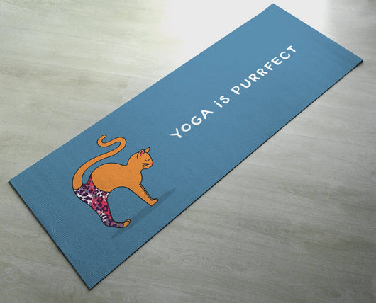 Yoga Is Purrfect - Practice Yoga In Style [Gift Idea / Fun Present] Exercise Mat / Marjaiasana