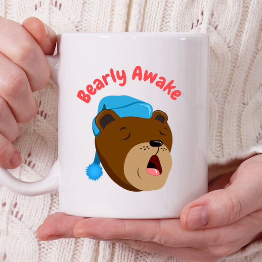 Bearly Awake - Cute Bear Coffee Mug [Gift Idea - Makes A Fun Present] Blue Hat Sleepy Bear