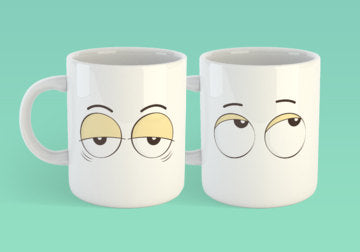 Free Shipping Worldwide - Set of Coffee Mug Eyes - Eye Roll & Tired Eyes [Gift Idea - Makes A Fun Present]