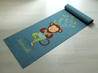 Namaste - Cute Monkey Yoga Mat - Practice Yoga In Style [Gift Idea / Fun Present] Exercise Mat / Monkey Gift