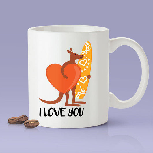 Free Shipping Worldwide - Australia - I Love You -  Kangaroo Surfer Mug  [Gift Idea For Him or Her - Makes A Fun Present] I Love You