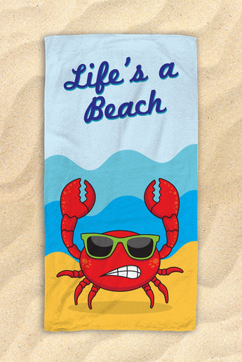 "Life's A Beach - Cute Crab Beach Towel  - Hit The Beach In Style [Gift Idea / Fun Present] Crab Gifts 30""x60"""