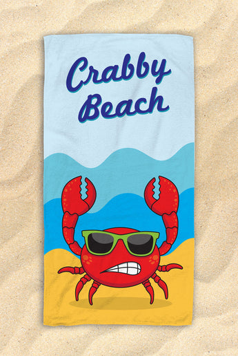 "Crabby Beach - Cute Crab Beach Towel  - Hit The Beach In Style [Gift Idea / Fun Present] Crab Gifts 30""x60"""