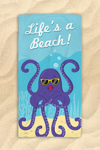 "Life's A Beach -  Cute Octopus Beach Towel  - Hit The Beach In Style [Gift Idea / Fun Present] Octopus Gifts 30""x60"""