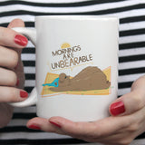 Free Worldwide Shipping - Mornings Are Unbearable Cute Coffee Mug - Sleeping Bear Hibernating  [Gift Idea - Makes A Fun Present]
