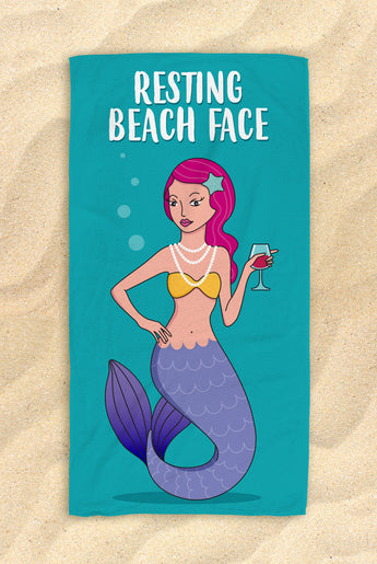 "Resting Beach Face - Beautiful Mermaid Beach Towel - Hit The Beach In Style [Gift Idea / Fun Present] Mermaid Gifts 30""x60"""