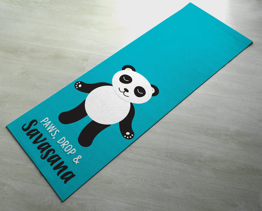 Paws, Drop & Savasana Panda Yoga Mat - Cute Panda Yoga Mat  - Practice Yoga In Style [Gift Idea / Fun Present]