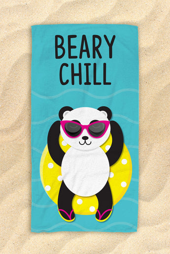 "Beary Chill Panda Beach Towel [Blue / Yellow / Green] -  Cute PandaTowel  - Hit The Beach In Style / Panda Gifts 30""x60"""