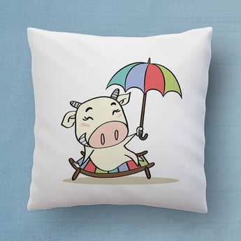 Cute Cow Throw Pillow - The Perfect Bedroom Pillow For Cow Lovers - Cute Decorative Pillow 18x18 inches