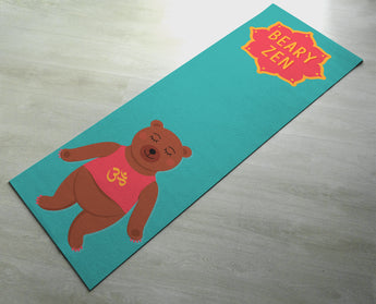 Green Beary Zen Yoga Mat - Cute Bear Yoga Mat  - Practice Yoga In Style [Gift Idea / Fun Present] Exercise Mat