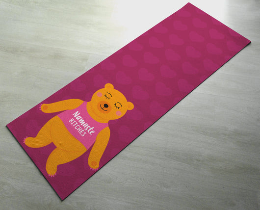 Free Shipping Worldwide -  Pink Namaste Bitches Yoga Mat - Cute Bear Yoga Mat  - Practice Yoga In Style - Exercise Mat