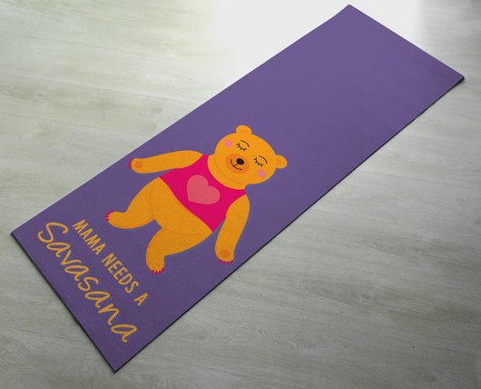 Cute Yoga Mat - Purple mat, Bear Savasana  - Non slip & thick material - Gift for Yogini