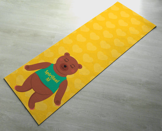 Yellow Spiritual AF  - Cute Bear Yoga Mat  - Practice Yoga In Style [Gift Idea / Fun Present] Exercise Mat