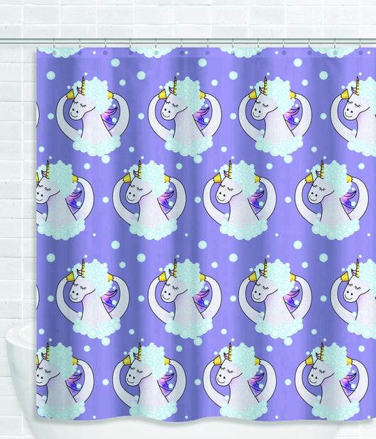 Cute Purple Soapy Unicorn Shower Curtain [Gift Idea / Fun Present] Bathtub Curtain