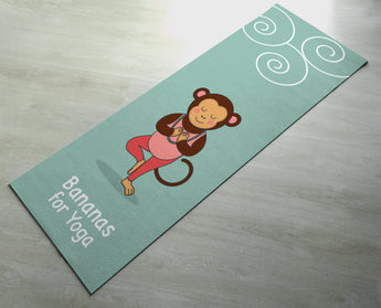 Bananas For Yoga - Cute Monkey Yoga Mat - Practice Yoga In Style [Gift Idea / Fun Present] Exercise Mat / Monkey Gift / Green Yoga Mat