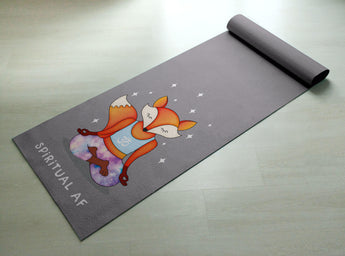 Free Shipping Worldwide- Spiritual AF Orange & Purple Fox Yoga Mat -  [Gift Idea / Fun Present] Exercise Mat / Cute Animal Yoga Mat