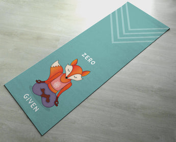 Zero Fox Given Yoga Mat - Practice Yoga In Style [Gift Idea / Fun Present] Exercise Mat / Cute Animal Yoga Mat / Green Yoga Mat
