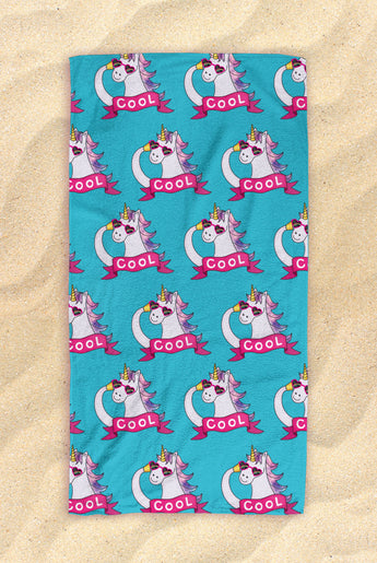 "Blue Unicorn Pattern Beach Towel - Cute Unicorn Towel  - Hit The Beach In Style [Gift Idea / Fun Present] Unicorn Gifts 30""x60"""