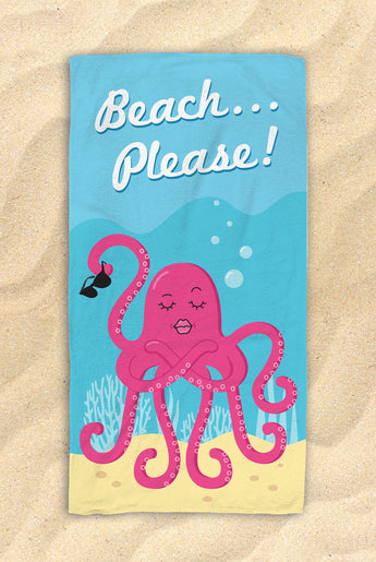"Beach Please! -  Cute Octopus Beach Towel  - Hit The Beach In Style [Gift Idea / Fun Present] Octopus Gifts 30""x60"""