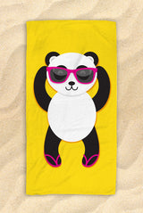"Panda Beach Towel [Blue / Yellow / Green] -  Cute Panda Towel - 30""x60"""