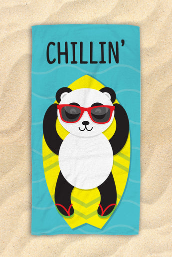 "Blue Chillin' Panda Beach Towel [Blue / Yellow / Green] -  Cute PandaTowel  - Hit The Beach In Style / Panda Gifts 30""x60"""
