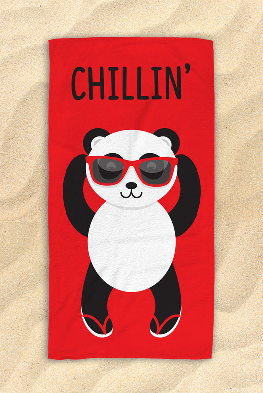 "Red Chillin' Panda Beach Towel -  Cute PandaTowel  - Hit The Beach In Style / Panda Gifts 30""x60"""