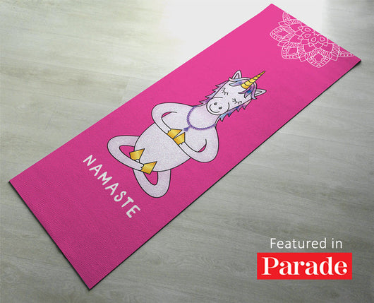 Printed Unicorn Yoga Mat - Non slip, Excellent grip - Premium Quality - Yoga gift for her