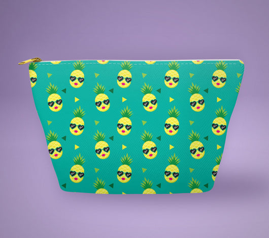 Free Shipping Worldwide! Green Pineapple With Sunglasses Accessory Pouch - The Perfect Pineapple Accessory / Makeup Bag